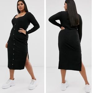 NWT Asos curve black ribbed button front dress